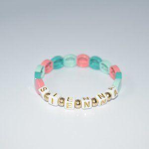 Personalize Tila Tiles Teal 14k gold Bracelet